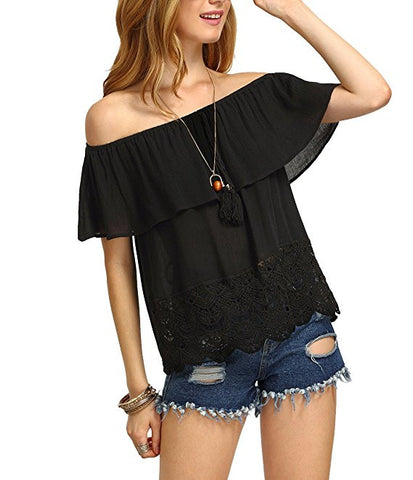 Women's Off Shoulder Ruffle Tassel Scalloped Hem Blouse Top
