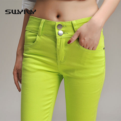 2017 Candy Color Pencil Pants  Female Big Yards Casual  Women Trousers Skinny Plus Size High Quality Slim