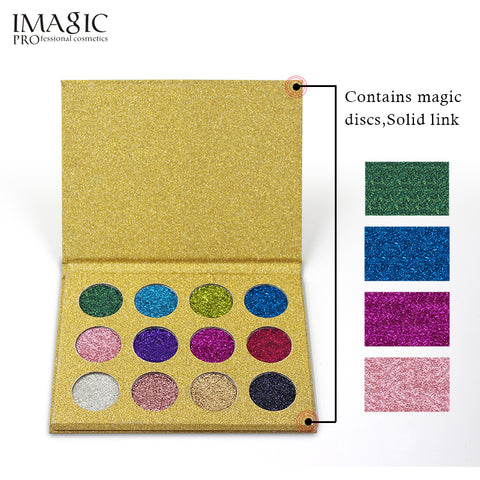 IMAGIC 12 Color  Eye shadow Glitter Palette Pressed Single Eyeshadow Diamond Rainbow Make Up Cosmetic Magnet Palette