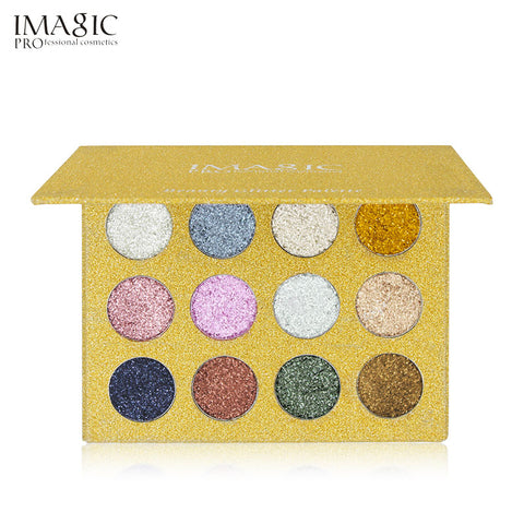 IMAGIC Pressed Glitters Eyeshadow Palette 12 Colors Bright Rainbow Gltters Eye Shadow Fill In Magetic  Make Up Cosmetic
