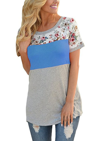 Women Casual Floral Print Short Sleeve Colorblock Blouse