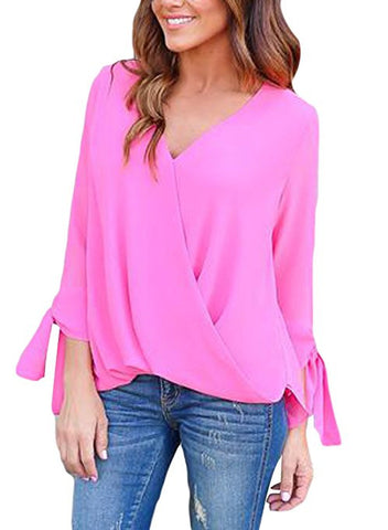 Womens Casual Summer Ladies Chiffon Ruffle V Neck Blouses and Tops Shirts