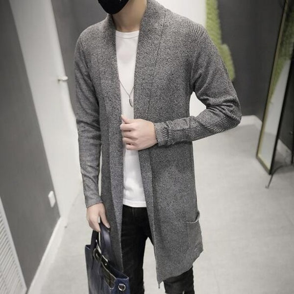 2017 New Fashion Mens Cardigan Slim Fit Wool Long Clothing Knitted Sweaters For Man Cloak Female Plus Size Gray Free Shipping