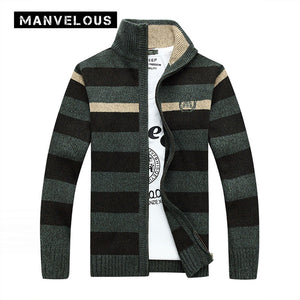 Manvelous Cardigan Sweater Men 2017 Fall & Winter Casual Fashion Loose Thick Striped Color Block Stand Collar Mens Sweaters Coat