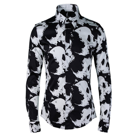 Europe fashion brand Men shirts High quality Skull print 100% cotton slim fit casual shirts Long sleeve Camisa Hombre Plus size