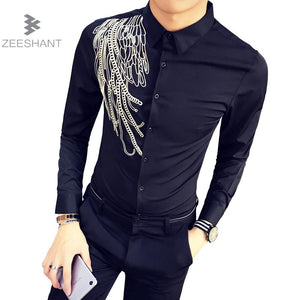 ZEESHANT 2017 New Men'S Long-Sleeved Club Party Shirt Slim Fit Men'S Casual Lapel Male Camisas Masculina Chemise Homme