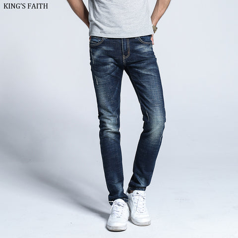 King's Faith 2017 Winter New Arrival Thick Jeans Men Silm Fit Cotton Mens Jean Elastic Ripped Casual Denim Pants 6383