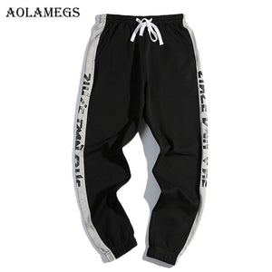 Aolamegsr New Striped Letter Pants Men Harem Pants Boys Elastic Elastic Waist Pencil Pants Trousers Mens 2017 Joggers Sweatpant