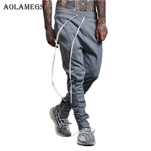 Aolamegs Harem Pants Side Striped Zipper Cotton Men Pants Casual Elastic Waist Track Pants Trousers Mens 2017 Joggers Sweatpants