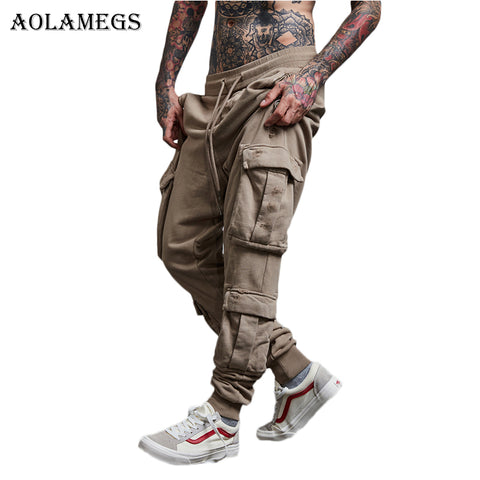Aolamegs Harem Pants Pockets Print Cargo Pants Men Elastic Waist Pants Trousers Mens 2017 Casual Fashion Joggers Sweatpants