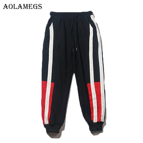 Aolamegsr Patchwork Cargo Pants Men Harem Pants Boys Elastic Elastic Waist Pencil Pants Trousers Mens 2017 Joggers Sweatpant