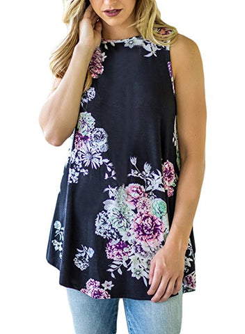 Womens Summer Casual Floral Print Sleeveless Loose Tank Blouses and Tops