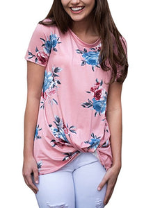 Womens Summer Casual Short Sleeve Floral Knot T-Shirts