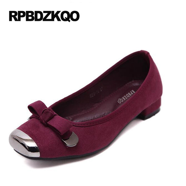 Women Flats Shoes With Little Cute Bowtie Low Heel Ballet Suede Ballerina Square Toe Metal