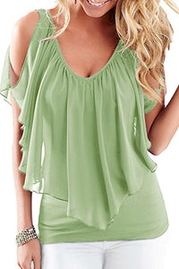 Womens Summer Cold Shoulder V Neck Front And Back Top Blouses (S-XXL)