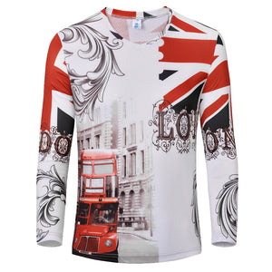 Clothing Retro / City / flower / car Print 3D T Shirt Men Long sleeve Casual Tshirt Tee Tops