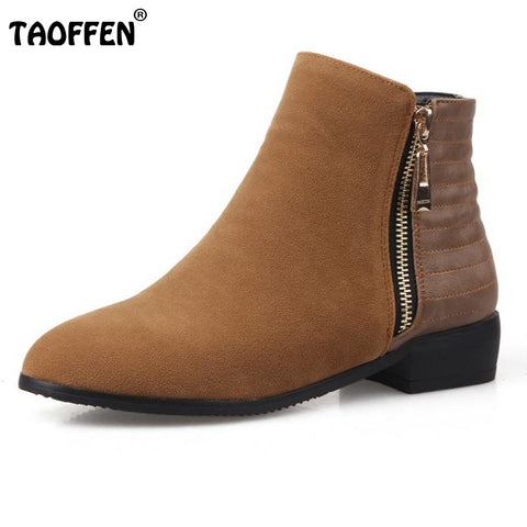Fashion Ankle Boots Women Hot Skid-Proof Chunky Heels Round Toe Shoes Woman Autumn Winter Botas Woman Chelsea Boot Size 33-43