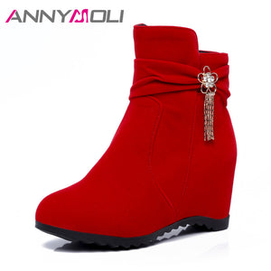ANNYMOLI Boots Women Increasing Ankle Boots Winter High Heels Wedges Shoes Round Toe Zipper Women Casual Boots Red botas mujer
