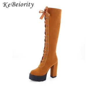KEBEIORITY Women Boots 2017 Spring Autumn Lace Up Booties Knee High Thick Heel Black Platform Boots Stretch Punk Boots Shoes
