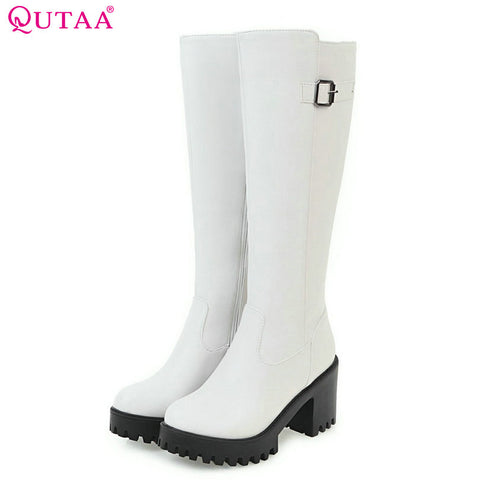 QUTAA  2018 Fashion Women Boots Zipper Square High Heel Round Toe Platform Knee High Boots Zipper Warm Winter Shoes Size 34-43