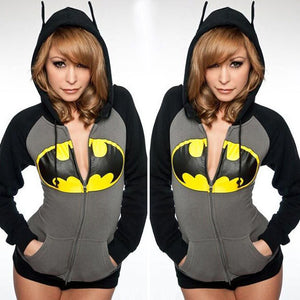 Women's BATMAN Hoodie Sweatshirt Sexy Women Jackets Clothing Casual Zipper Hooded Cotton Long Sleeve Coat