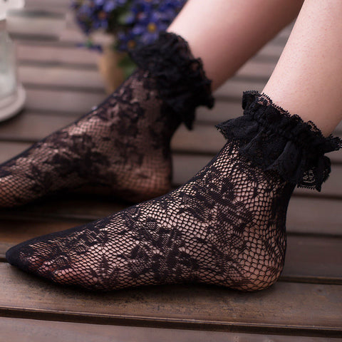 Summer Women Sexy Lace Ruffle Floral Soft Socks Pleats Elastic Fishnet Solid Flower Short Ankle Socks