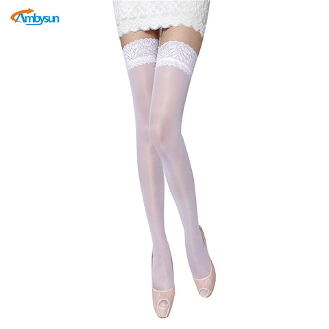 2017 New Arrival Sexy Lady White Thin Stockings Sheer Thigh High Pantyhose Women Cuban Heel Stockings Chaussette Dentelle Femme
