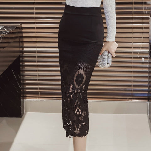 Lace Long Pencil Skirt Elegant Ladies High Waist Office Skirt Black Sexy Slim Bodycon Skirts Womens JN1245