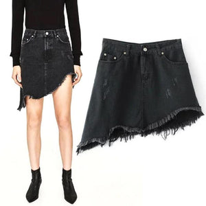 Fashion Mini Black Denim Slim Skirts Irregular Tassels Skirt Women Ladies Trendy Casual Summer Street Shorts S-XL Y4