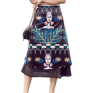 2017 fashion vintage high waist long women's skirt summer floral print chiffon maxi skirts womens a line saia midi ladies skirts
