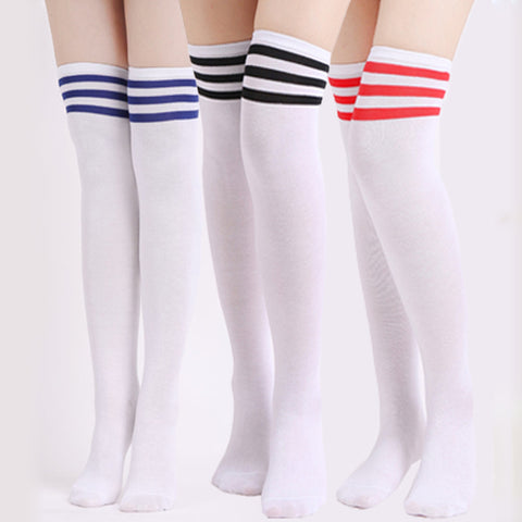 3Pair Fashion Design Stocking Female Women Girl Sexy Warm Over The Knee Socks Thigh High Stripe Stockings Compression Long Socks