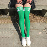 10 Pairs/Lot Cotton Women Knee Socks Sexy Thigh long Student Girl hot sale 8 colors striped breathable Socks - All2Wear.com