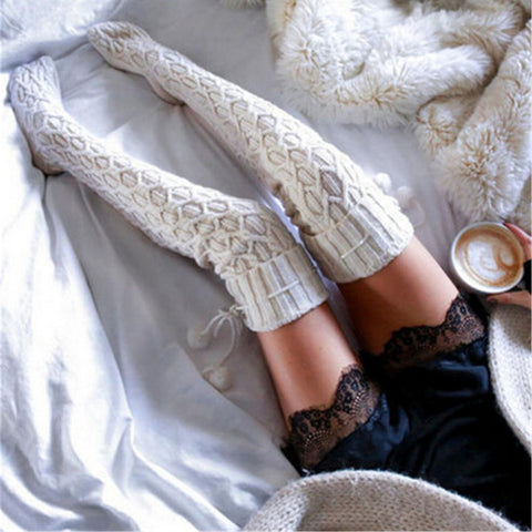 Autumn Winter Knitted Warm Sexy Thigh High Socks Vintage Casual Soft Knee Socks Fashion Women Girl Long Socks