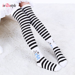 inDostyle Hot New Sexy Women Girl Striped Cotton Thigh High Over the Knee Socks Fashion