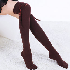 TOIVOTUKSIA Knee Socks Sexy Thigh High Socks with Ribbon Bow Tie Female Long Socks for Women Full Cotton Knee High Socks