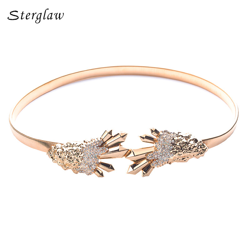 2017 Promotion Hot Sale Fashion Lady's Wild Golden Decorative Metal Elastic Thin Belt For Women's Dress Waist Belts Female B037