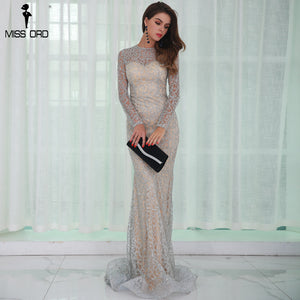 O Neck Long Sleeve Pattern  Glitter Women Slim Maxi Elegant Dress