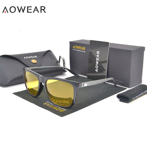 AOWEAR HD Night Vision Glasses Polarized Men Classic Aluminium Magnesium Yellow Lens Sunglasses for Driving Safe Gafas De Sol