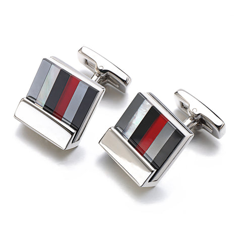Hot sale real tie clip square shell cufflink multi-colored puzzles cuff links for men wedding dress groom cufflink gemelos