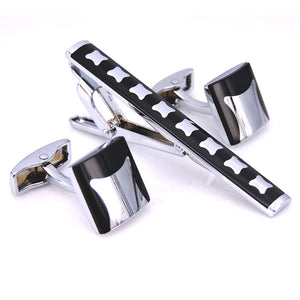 C-MAN Stainless Steel Silver Square Enamel Cufflinks and Tie Clip Clasp Bar Set Gift For Men French Shirt High Quality
