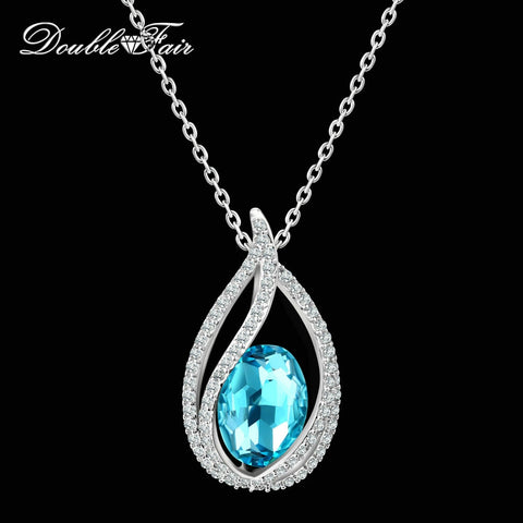 Double Fair Unique Cubic Zirconia Big Blue Crystal Necklace & Pendants Silver Color