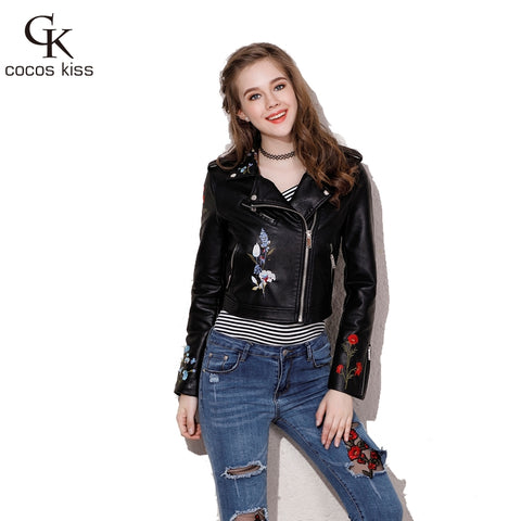 New Fashion casual short Leather jacket women coat long sleeve turn-down collar slim Flower Embroidery women jacket