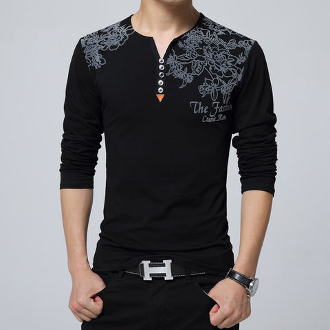 Fashion Floral Print Men Henry Collar Button Decorate Long Sleeve for Men Tops Plus Size 5XL