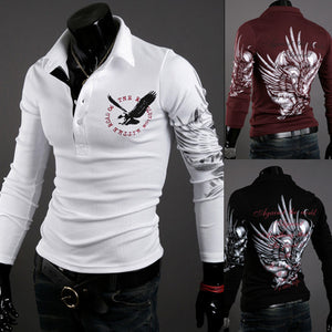 Fashion Brand Clothing Eagle Printed T Shirt Men Casual Long Sleeve Kpop Men Hip Hop Funny Tops Tees
