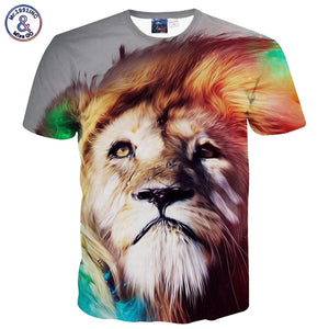 Lion Print fashion t-shirt men/boy short sleeve 3d print
