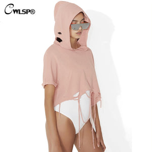 CWLSP Ripped Holes Women Sweatshirt Pink Loose Crop top Sexy Hoodie pullover bts Short Sleeve Autumn Summer moletom kpop QA1914