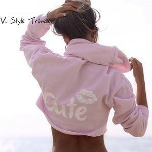 Autumn Casual Cropped Hoodie Women High Fashion Long Sleeves Female Pullover Street Oversized Sexy Loose Print Tee Pink Crop Top