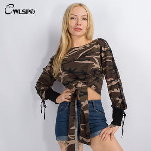 Women Camouflage Sweatshirt Sexy Slash Neck Crop Tops Hoodie Female Hollow Out Lace Up Batwing Sleeve moleton feminino