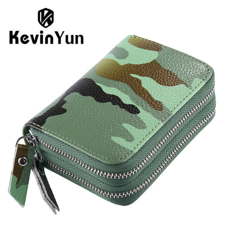 Fashion Camouflage Printed Women Card Holder Split Leather Large Capacity Wallet