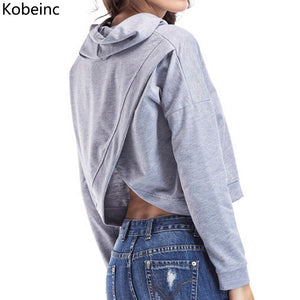 Kobeinc Design Back Cross Cropped Hoody Sweatshirt Women Long Sleeve Sexy Moletom Feminina Autumn Warm Sudaderas Bandage Hoodies